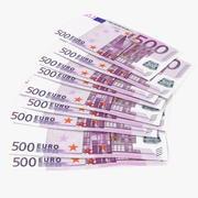 Paper Banknotes Euro 500 Bundle 3d model