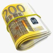Paquet rotatif de beaucoup enroulé 200 euros 3d model