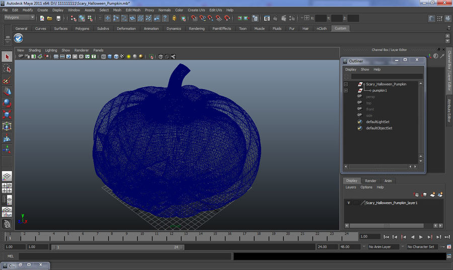 Scary Halloween Pumpkin royalty-free 3d model - Preview no. 17