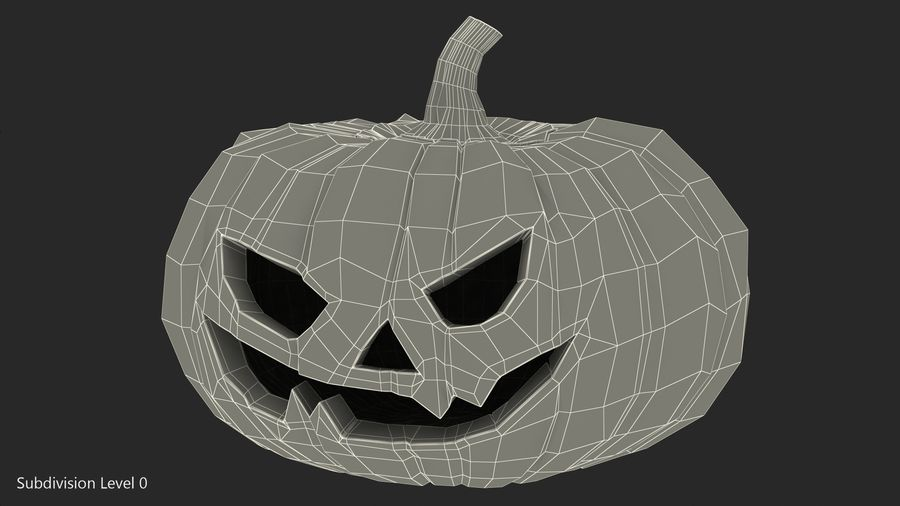 Scary Halloween Pumpkin royalty-free 3d model - Preview no. 13
