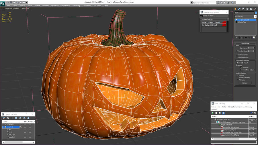 Scary Halloween Pumpkin royalty-free 3d model - Preview no. 19