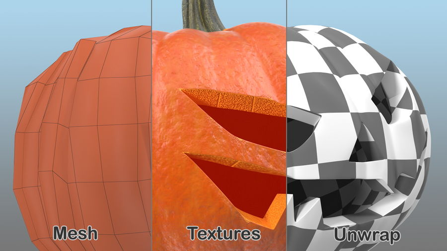 Scary Halloween Pumpkin royalty-free 3d model - Preview no. 6