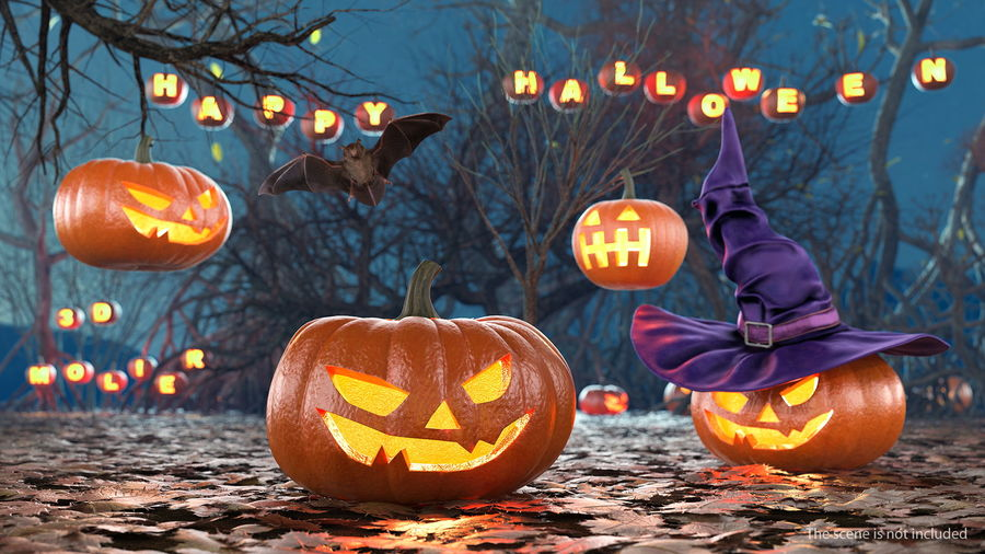Scary Halloween Pumpkin royalty-free 3d model - Preview no. 3