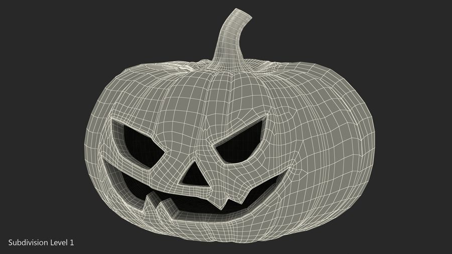 Scary Halloween Pumpkin royalty-free 3d model - Preview no. 14
