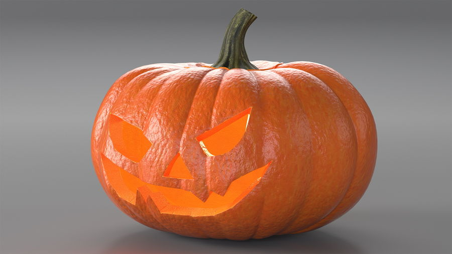 Scary Halloween Pumpkin royalty-free 3d model - Preview no. 4