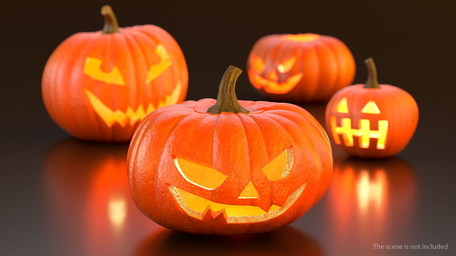 Scary Halloween Pumpkin royalty-free 3d model - Preview no. 2