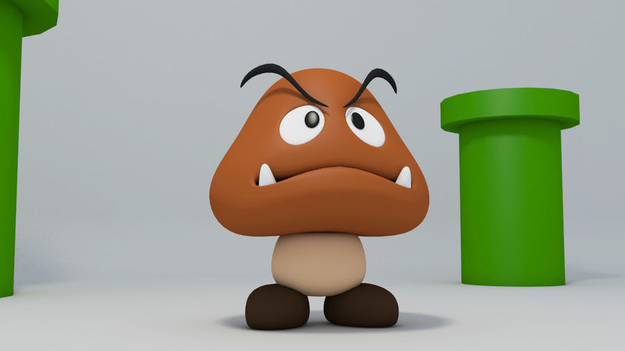 Postać Goomba od Super Mario royalty-free 3d model - Preview no. 6
