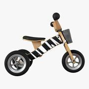 木制平衡三轮车 3d model