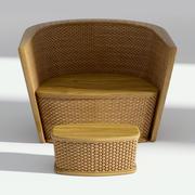 Poltrona de vime com otomano 3d model