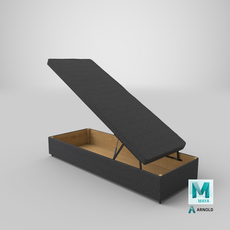 Bettgestell 02 Holzkohle offen royalty-free 3d model - Preview no. 25
