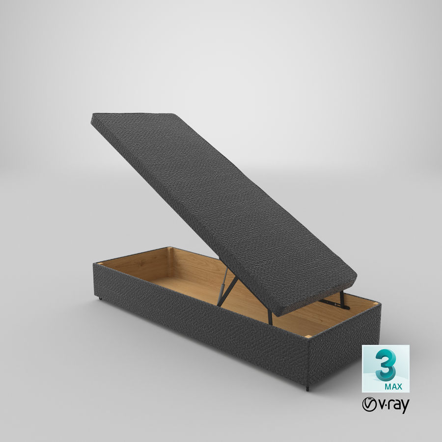 Bettgestell 02 Holzkohle offen royalty-free 3d model - Preview no. 24