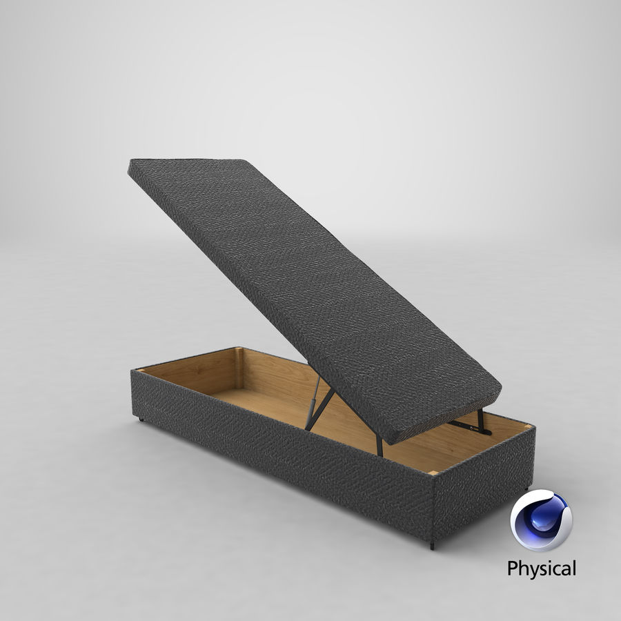 Bettgestell 02 Holzkohle offen royalty-free 3d model - Preview no. 20