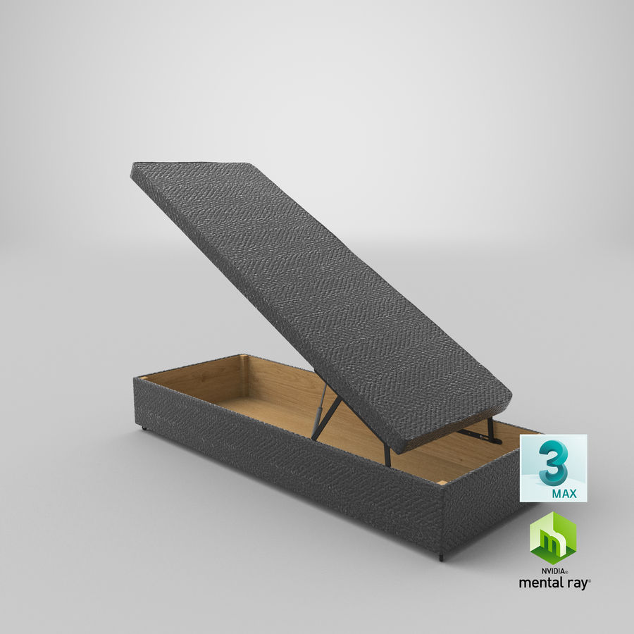 Bettgestell 02 Holzkohle offen royalty-free 3d model - Preview no. 23