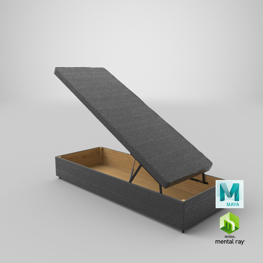 Bettgestell 02 Holzkohle offen royalty-free 3d model - Preview no. 26