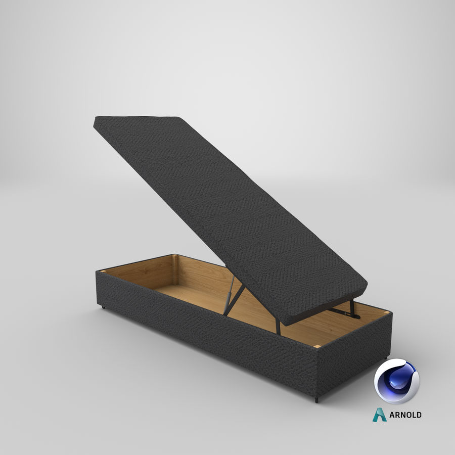 Bettgestell 02 Holzkohle offen royalty-free 3d model - Preview no. 21