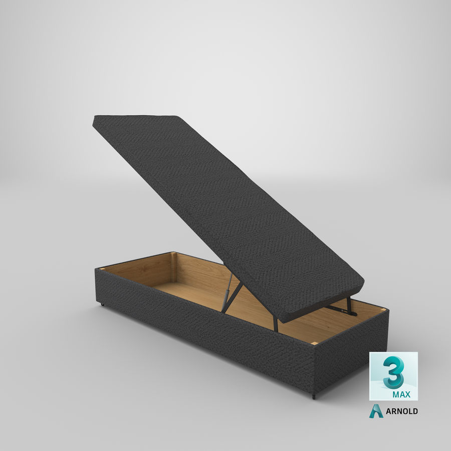 Bettgestell 02 Holzkohle offen royalty-free 3d model - Preview no. 22