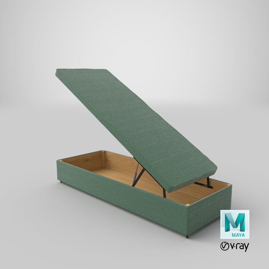Bed Base 02 Open Mint royalty-free 3d model - Preview no. 27