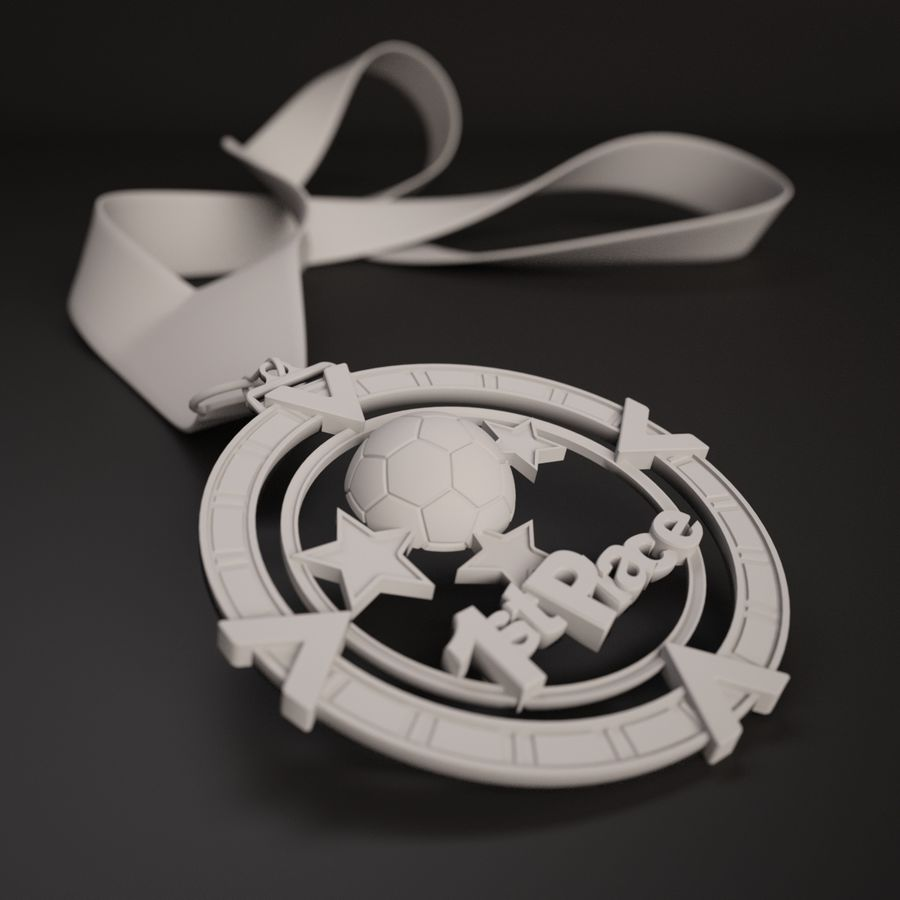 3D Printable Medal Style 1 1st Place royalty-free 3d model - Preview no. 3