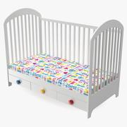나무 유아용 침대 3d model