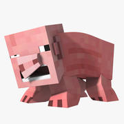 Minecraft Pig Model opgetuigd 3d model