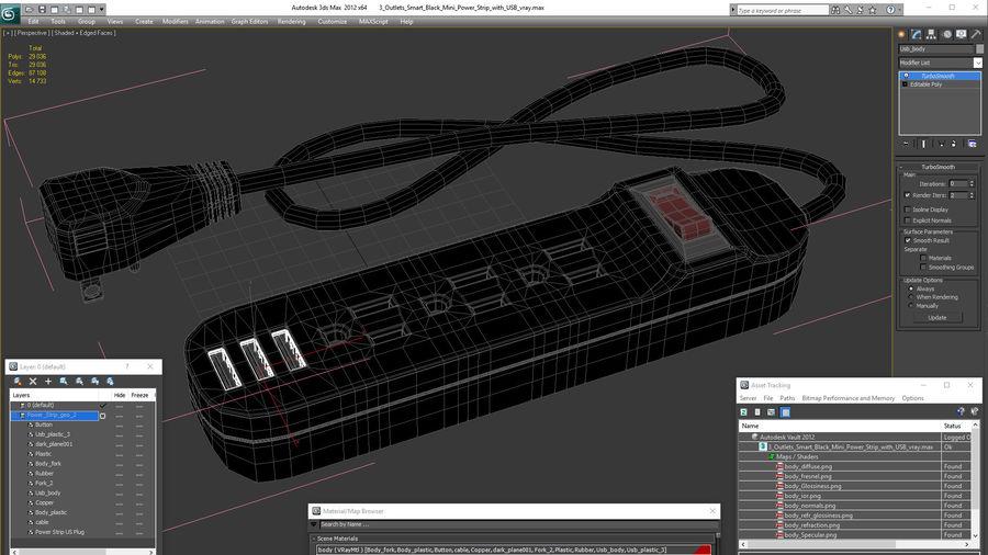 3 gniazdka Smart Black Mini listwa zasilająca z USB royalty-free 3d model - Preview no. 22