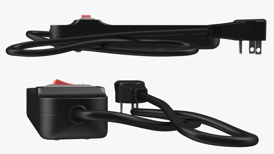 3 gniazdka Smart Black Mini listwa zasilająca z USB royalty-free 3d model - Preview no. 9