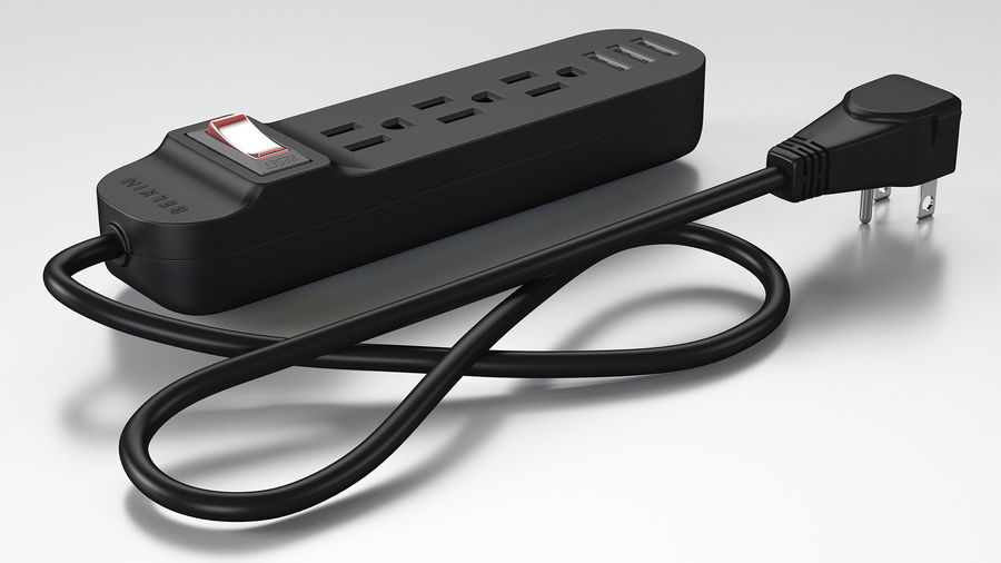 3 gniazdka Smart Black Mini listwa zasilająca z USB royalty-free 3d model - Preview no. 2