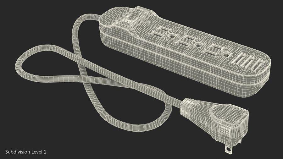 3 gniazdka Smart Black Mini listwa zasilająca z USB royalty-free 3d model - Preview no. 17