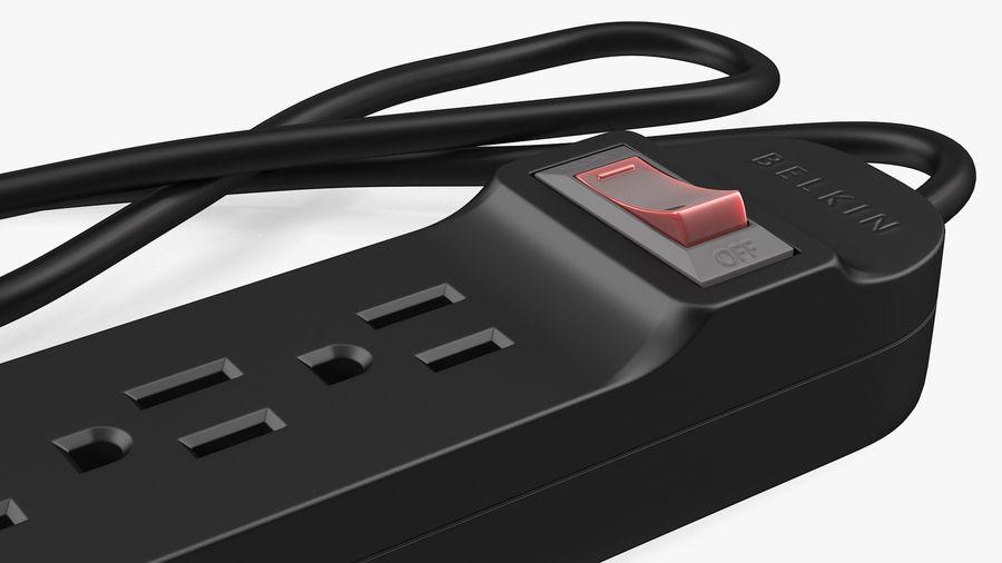 3 gniazdka Smart Black Mini listwa zasilająca z USB royalty-free 3d model - Preview no. 11