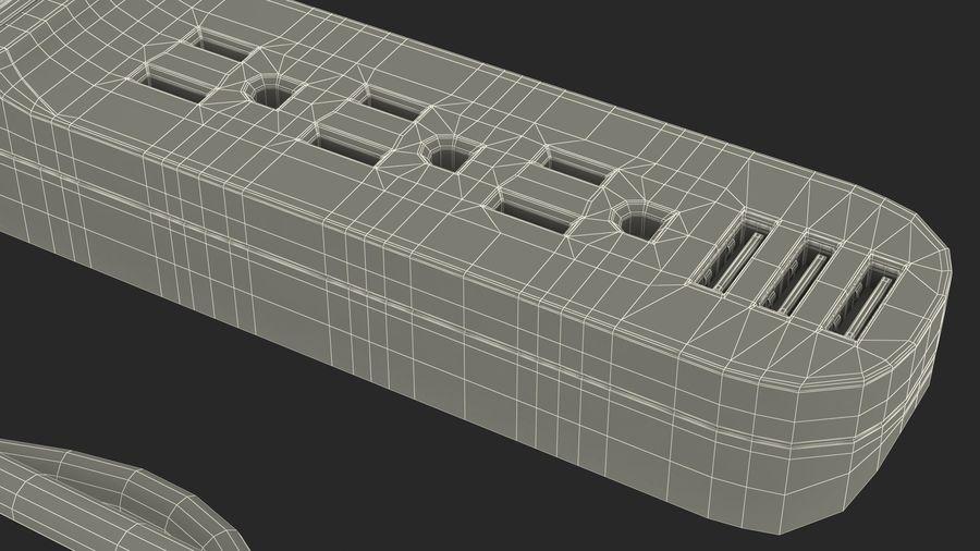 3 gniazdka Smart Black Mini listwa zasilająca z USB royalty-free 3d model - Preview no. 25
