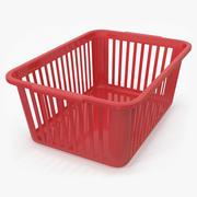 Panier pratique en plastique rouge 3d model