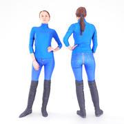 Woman in blue jeans 3d model