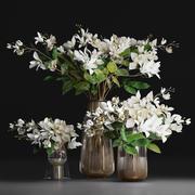Gardenia-Cape Jasmine  Flower Bouquet Vase 3d model