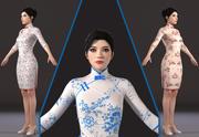 Asian woman Chinese dress beauty 3D model 3d model