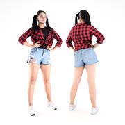 牛仔短裤20的漂亮女孩 3d model