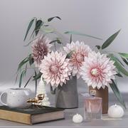 大丽花花花束鲜花花瓶装饰套装 3d model
