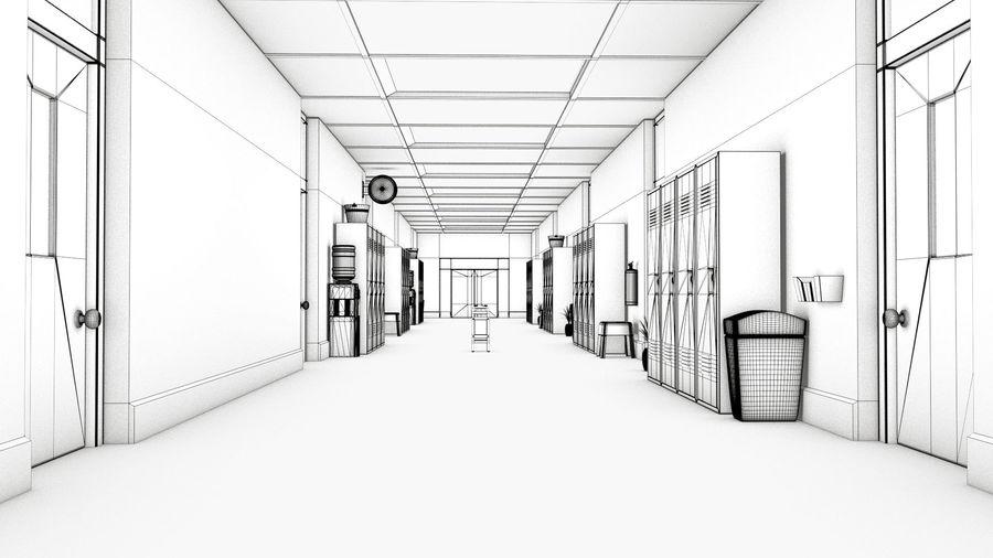 Corridoio della scuola royalty-free 3d model - Preview no. 21