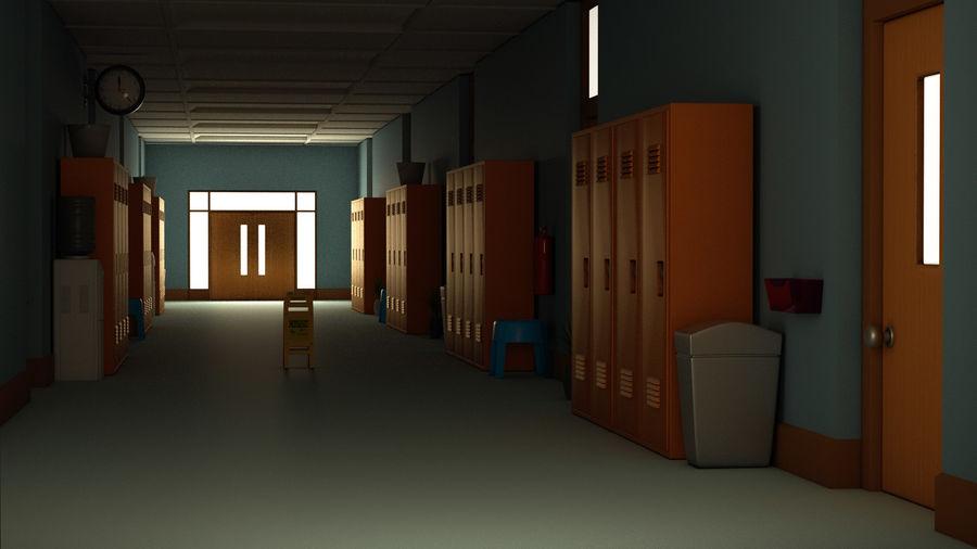 Corridoio della scuola royalty-free 3d model - Preview no. 2