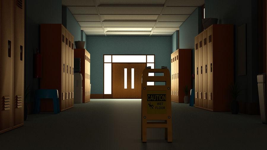 Corridoio della scuola royalty-free 3d model - Preview no. 7