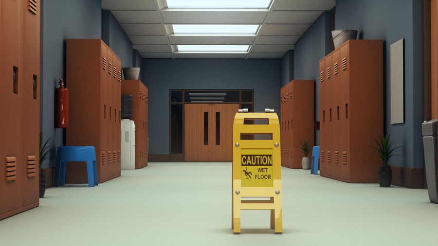 Corridoio della scuola royalty-free 3d model - Preview no. 8