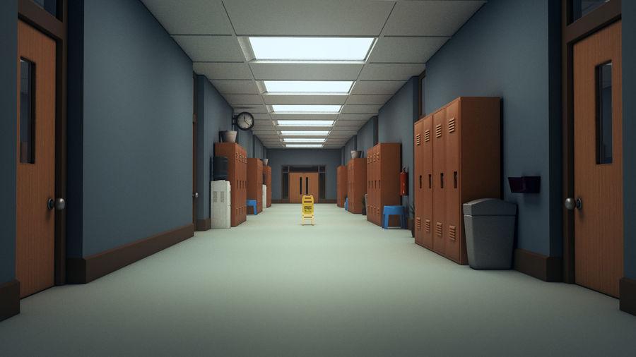 Corridoio della scuola royalty-free 3d model - Preview no. 20
