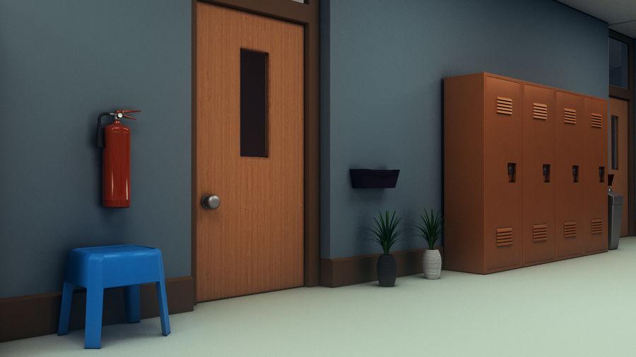Corridoio della scuola royalty-free 3d model - Preview no. 16