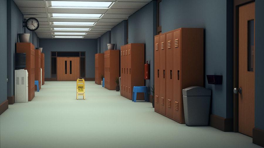Corridoio della scuola royalty-free 3d model - Preview no. 3