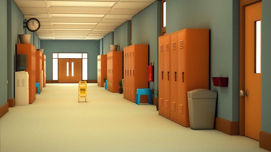 Corridoio della scuola royalty-free 3d model - Preview no. 1