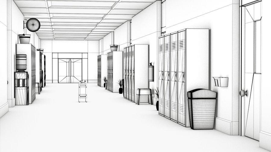 Corridoio della scuola royalty-free 3d model - Preview no. 4
