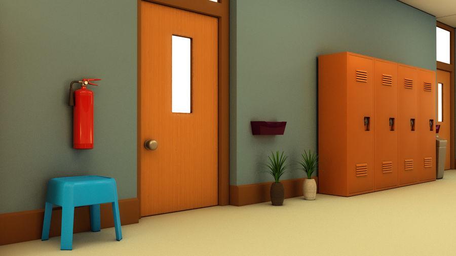 Corridoio della scuola royalty-free 3d model - Preview no. 14