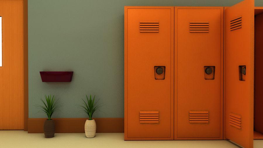Corridoio della scuola royalty-free 3d model - Preview no. 26