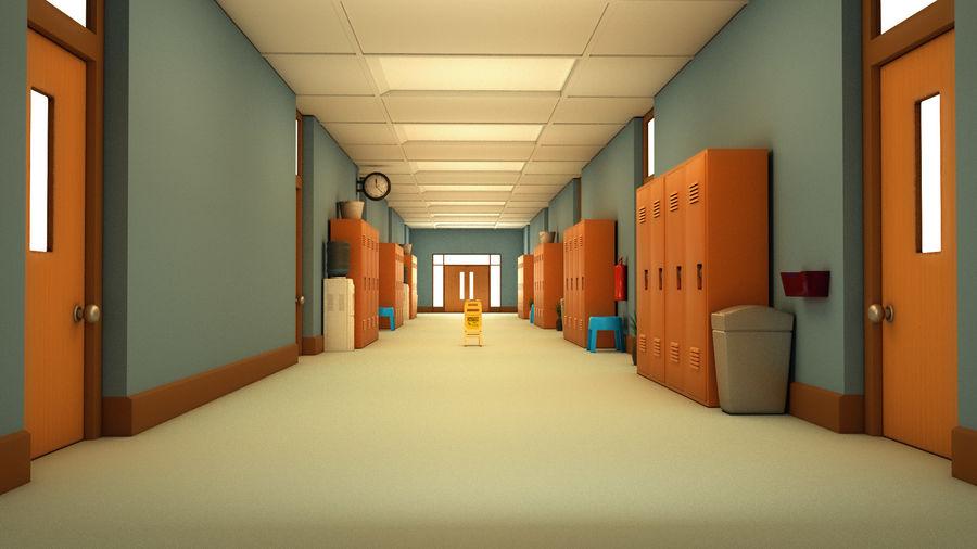 Corridoio della scuola royalty-free 3d model - Preview no. 18