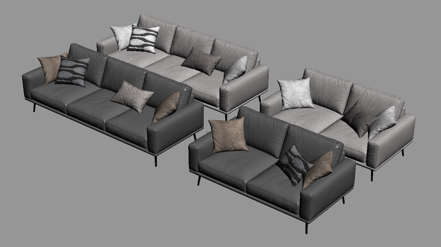BoConceptカールトンソファ royalty-free 3d model - Preview no. 11