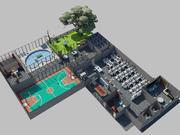 oficinas de baja poli modelo 3d